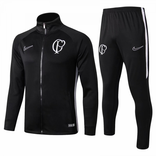 Corinthians Paulista Training Jacket Suits Black White Stripe 2019/20