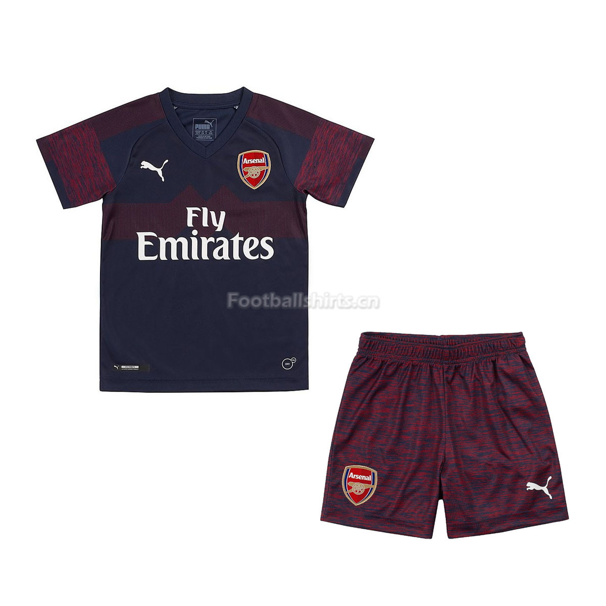 Kids Arsenal Away Soccer Jersey Kit Shirt + Shorts 2018 19 01e1bd5c2