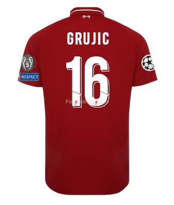 Liverpool Home GRUJIC Shirt UCL Soccer Jersey 2018/19