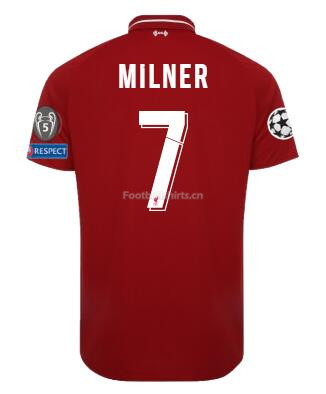 Liverpool Home MILNER Shirt UCL Soccer Jersey 2018/19
