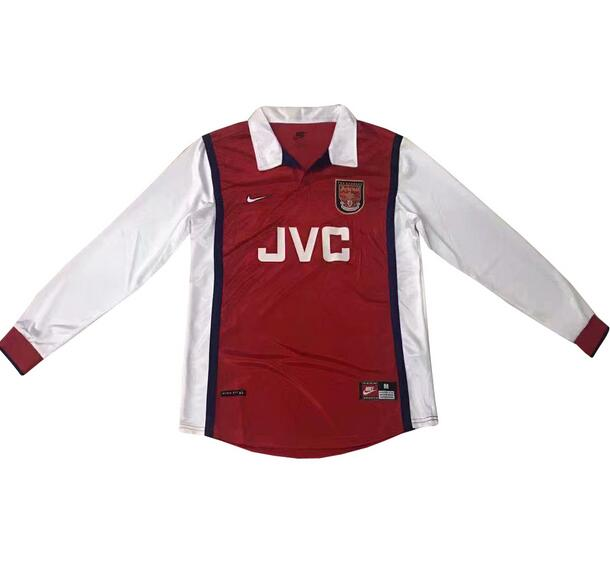 Retro Arsenal Home Soccer Jersey Long Sleeve 1998