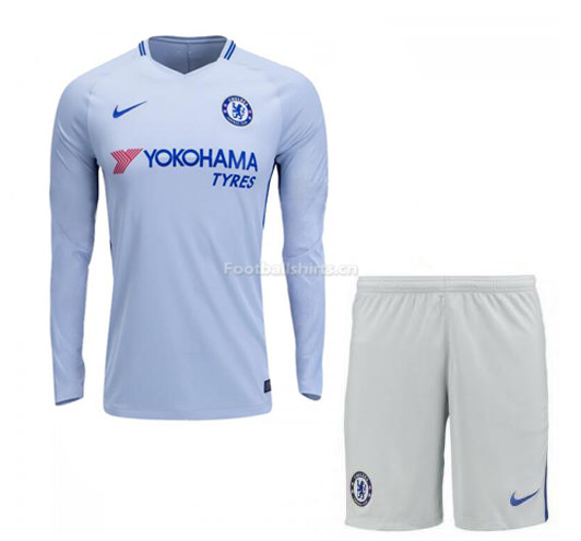 Chelsea Away Long Sleeve Soccer Jersey Uniform (Shirt+Shorts) 20