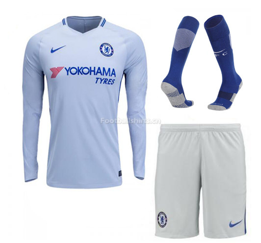 Chelsea Away Long Sleeve Soccer Jersey Kits (Shirt+Shorts+Socks)
