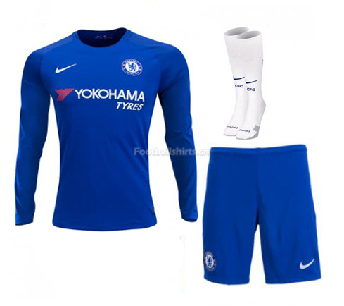Chelsea Home Long Sleeve Soccer Jersey Kits (Shirt+Shorts+Socks)