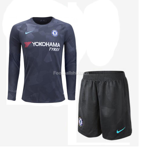 Chelsea Third Long Sleeve Soccer Jersey Uniform (Shirt+Shorts) 2