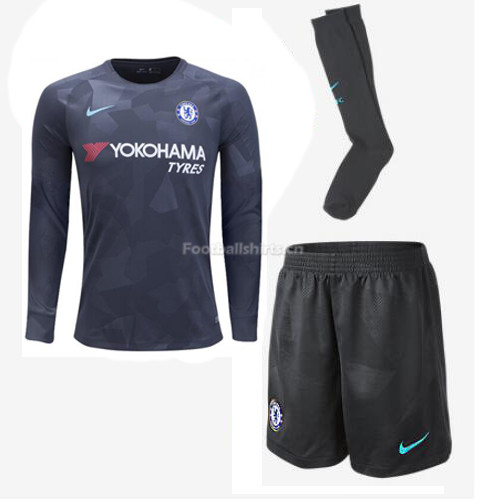 Chelsea Third Long Sleeve Soccer Jersey Kits (Shirt+Shorts+Socks