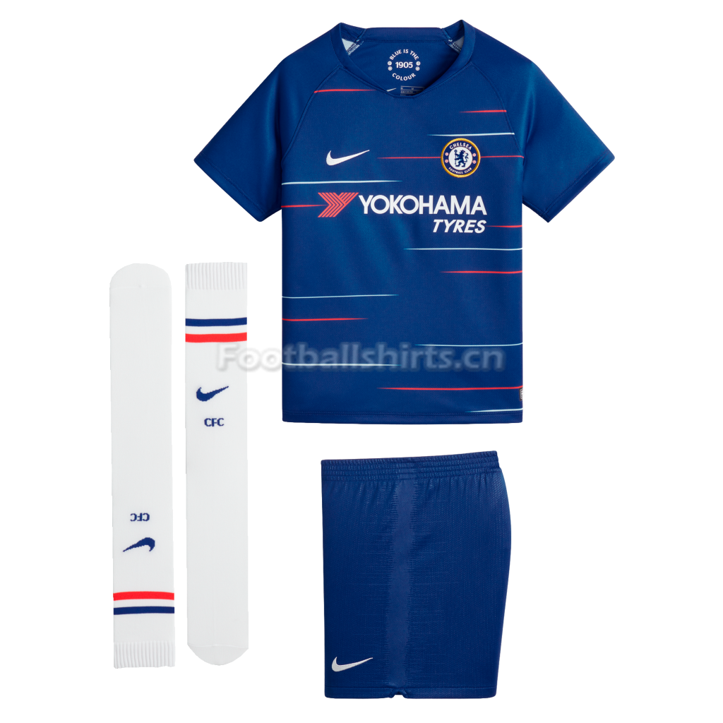 Kids Chelsea Home Soccer Jersey Whole Kit Shirt + Shorts + Socks