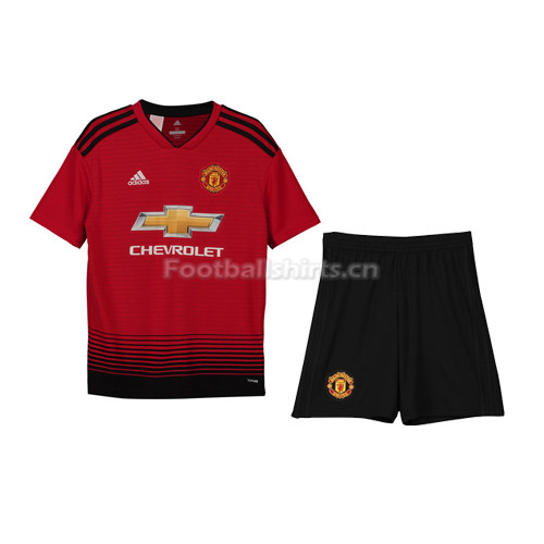 Kids Manchester United Home Soccer Jersey Kit Shirt + Shorts 201