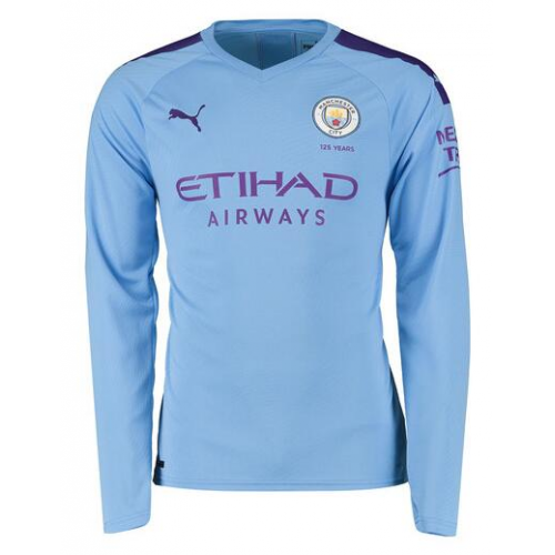 Manchester City Home Soccer Jersey Long Sleeve 2019/20