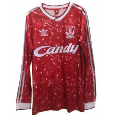 Retro Liverpool Home Soccer Jersey Long Sleeve 89/91