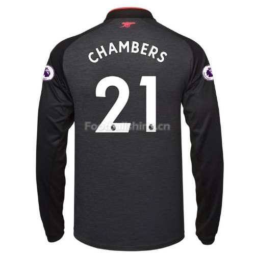 Arsenal Third CHAMBERS #21 Long Sleeve Soccer Jersey 2017/18