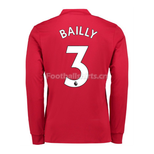 Manchester United Home Bailly #3 Long Sleeve Soccer Shirt 2017/1
