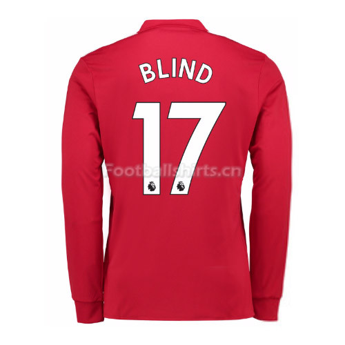 Manchester United Home Blind #17 Long Sleeve Soccer Shirt 2017/1