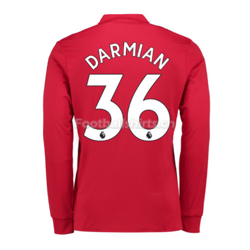 Manchester United Home Darmian #36 Long Sleeve Soccer Shirt 2017