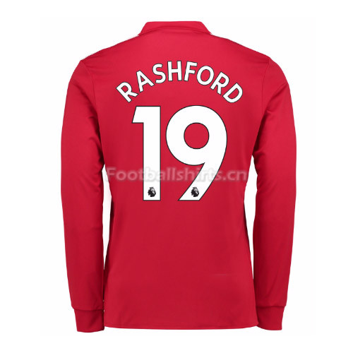 Manchester United Home Rashford #19 Long Sleeve Soccer Shirt 201