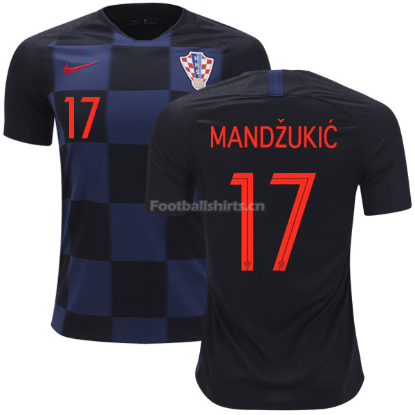 Croatia 2018 World Cup Away MARIO MANDZUKIC 17 Soccer Jersey
