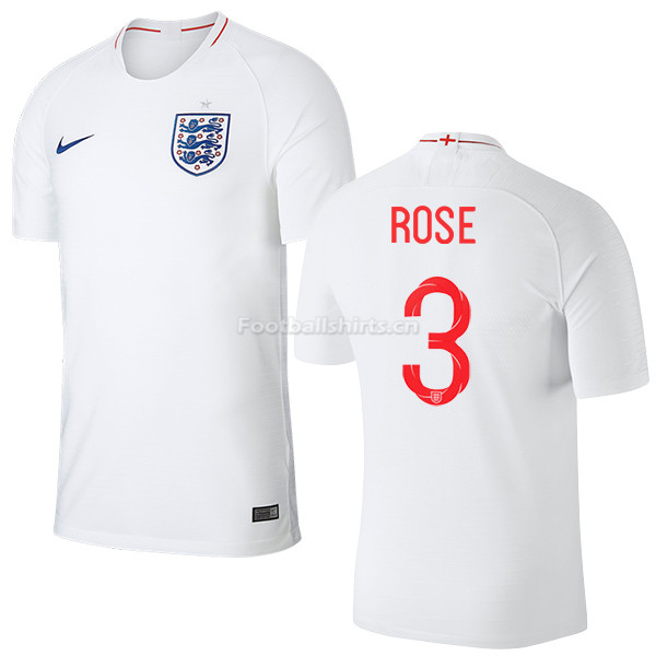 England 2018 FIFA World Cup DANNY ROSE 3 Home Soccer Jersey