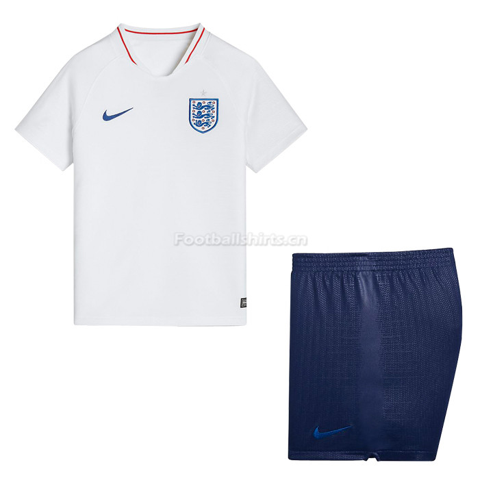 Kids England 2018 World Cup Home Soccer Kit Shirt + Shorts
