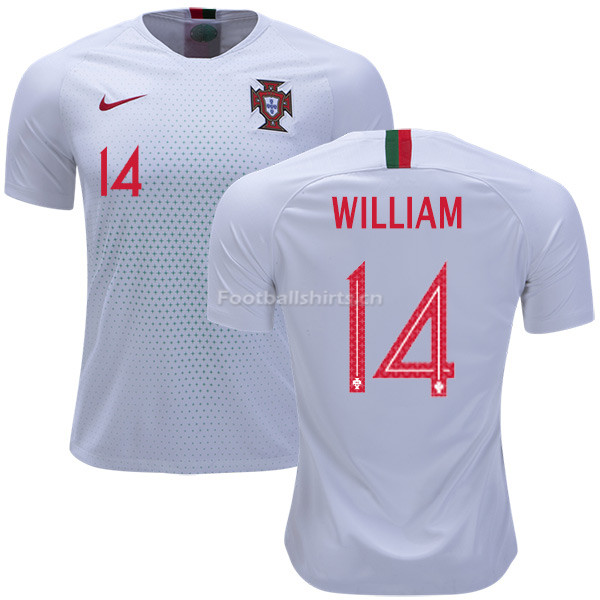 Portugal 2018 World Cup WILLIAM CARVALHO 14 Away Soccer Jersey