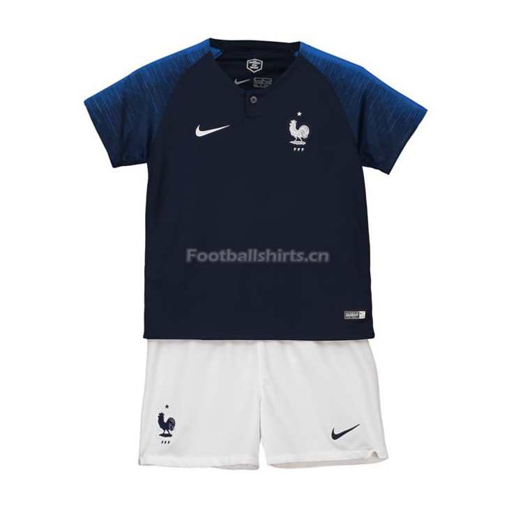 Kids France 2018 World Cup Home Soccer Kit Shirt + Shorts