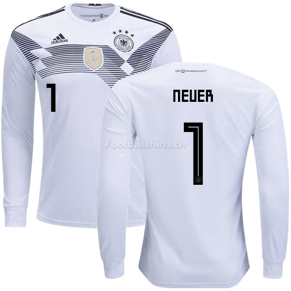 Germany 2018 World Cup MANUEL NEUER 1 Home Long Sleeve Soccer Je