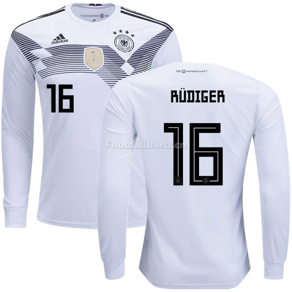 Germany 2018 World Cup ANTONIO RUDIGER 16 Home Long Sleeve Socce