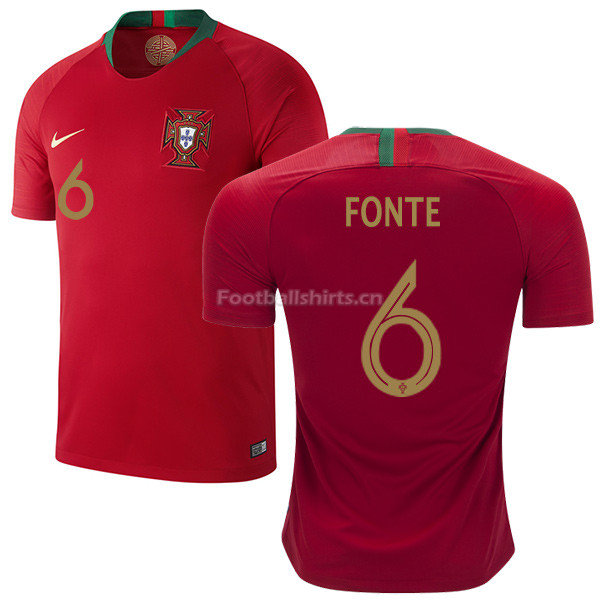 Portugal 2018 World Cup JOSE FONTE 6 Home Soccer Jersey