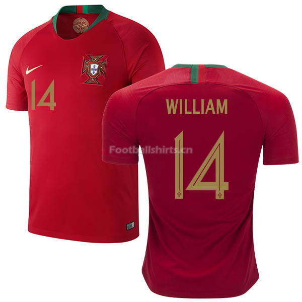 Portugal 2018 World Cup WILLIAM CARVALHO 14 Home Soccer Jersey