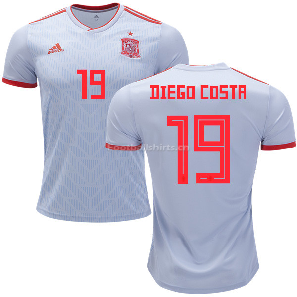 Spain 2018 World Cup DIEGO COSTA 19 Away Soccer Jersey