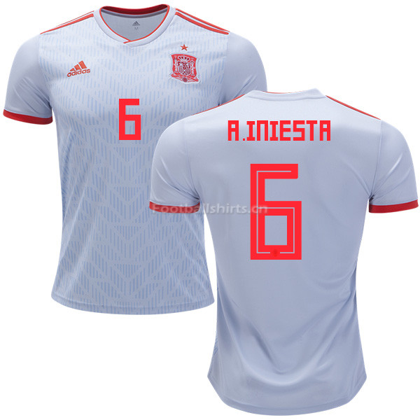 Spain 2018 World Cup ANDRES INIESTA 6 Away Soccer Jersey