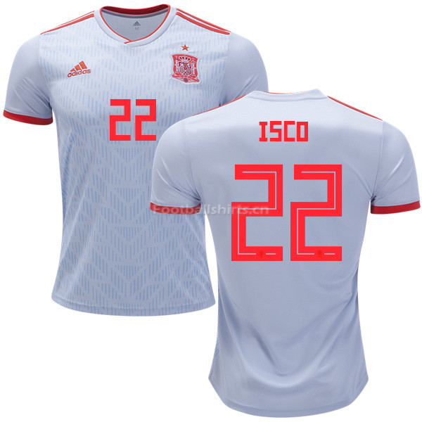 Spain 2018 World Cup ISCO 22 Away Soccer Jersey