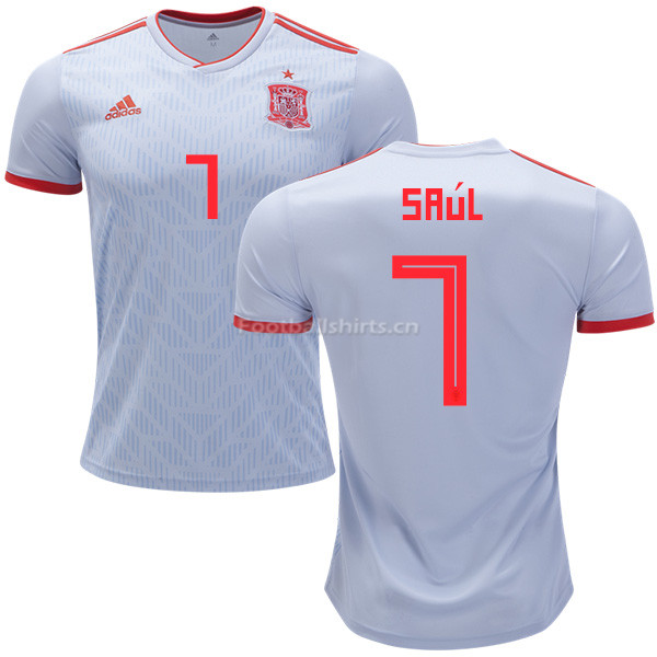Spain 2018 World Cup SAUL NIGUEZ 7 Away Soccer Jersey