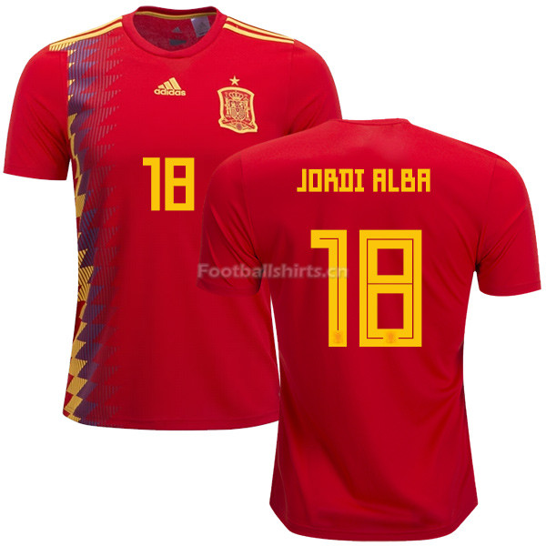Spain 2018 World Cup JORDI ALBA 18 Home Soccer Jersey