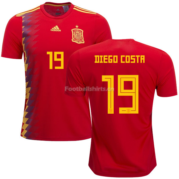 Spain 2018 World Cup DIEGO COSTA 19 Home Soccer Jersey