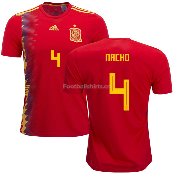 Spain 2018 World Cup NACHO FERNANDEZ 4 Home Soccer Jersey