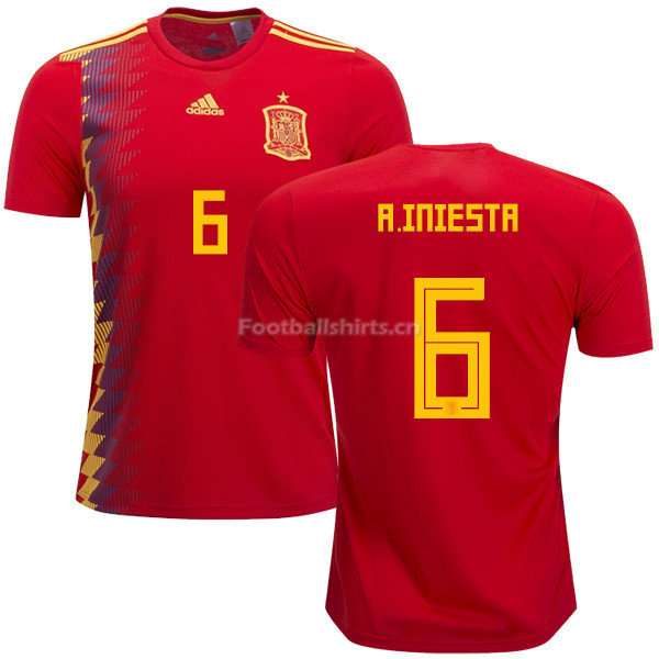 Spain 2018 World Cup ANDRES INIESTA 6 Home Soccer Jersey