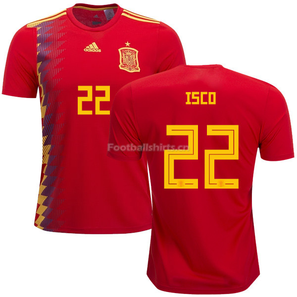 Spain 2018 World Cup ISCO 22 Home Soccer Jersey