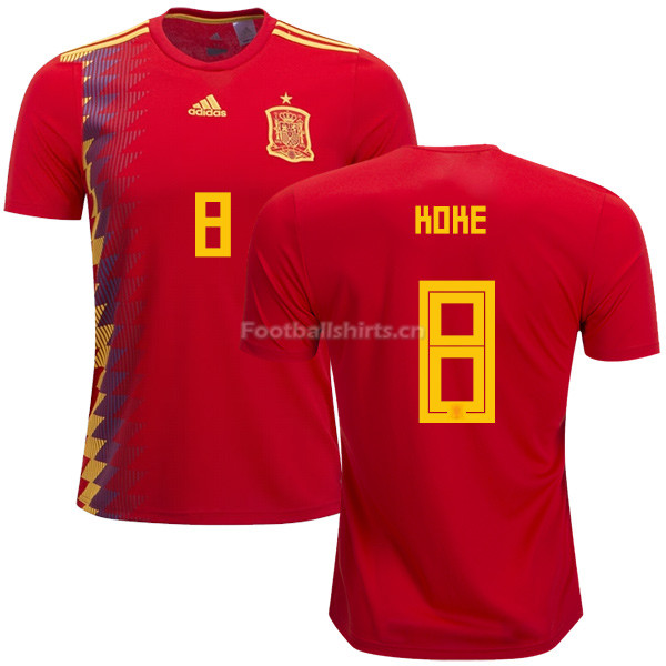 Spain 2018 World Cup KOKE 8 Home Soccer Jersey