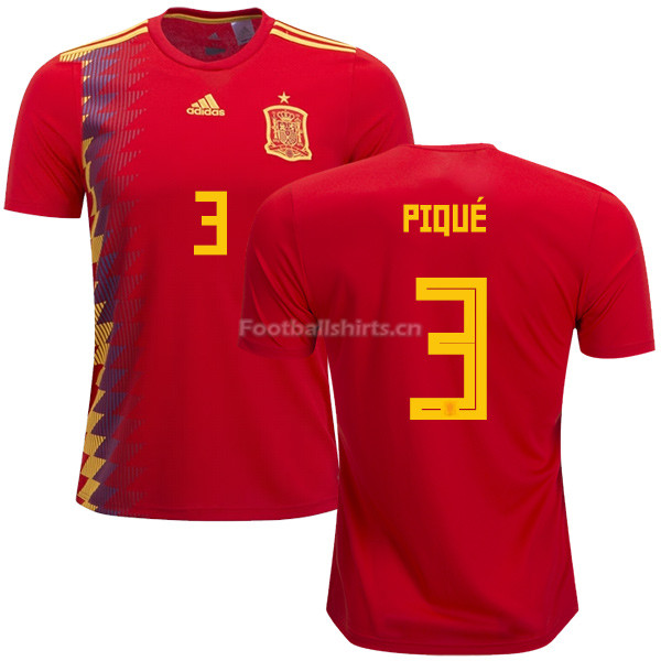 Spain 2018 World Cup GERARD PIQUE 3 Home Soccer Jersey
