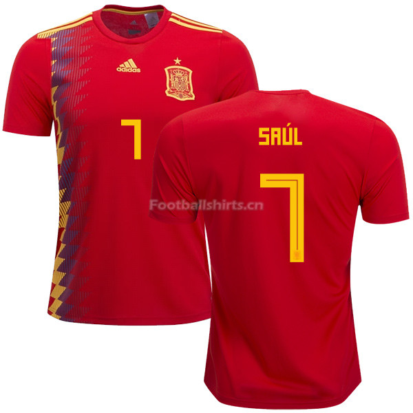 Spain 2018 World Cup SAUL NIGUEZ 7 Home Soccer Jersey