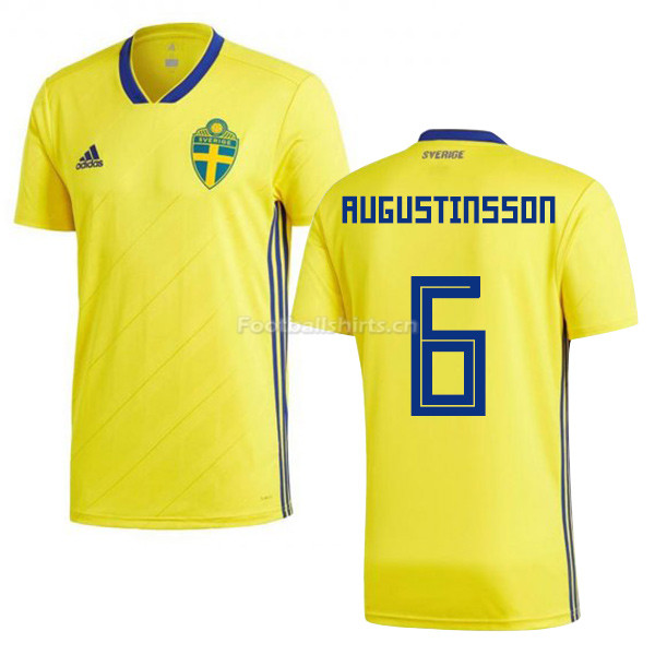Sweden 2018 World Cup LUDWIG AUGUSTINSSON 6 Home Shirt Soccer Sh