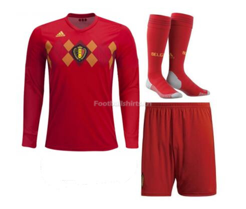 Belgium 2018 World Cup Home LS Soccer Whole Kits (Shirt+Shorts+S