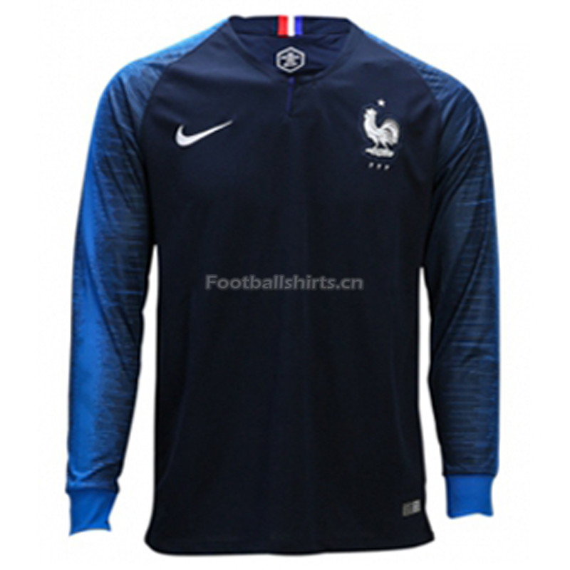France 2018 World Cup Home Long Sleeve Soccer Jersey
