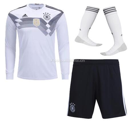 Germany 2018 World Cup Home LS Soccer Jersey Whole Kits (Shirt+S