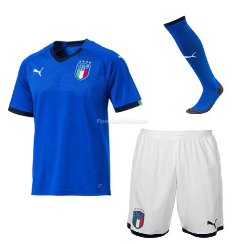 Kids Italy Home Soccer Kits (Shirt+Shorts+Socks) 2018/19