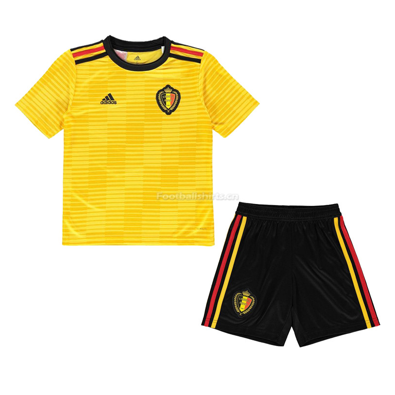Kids Belgium 2018 World Cup Away Soccer Kit Shirt + Shorts