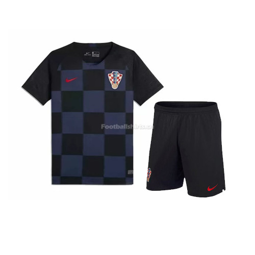 Kids Croatia 2018 World Cup Away Soccer Kit Shirt + Shorts