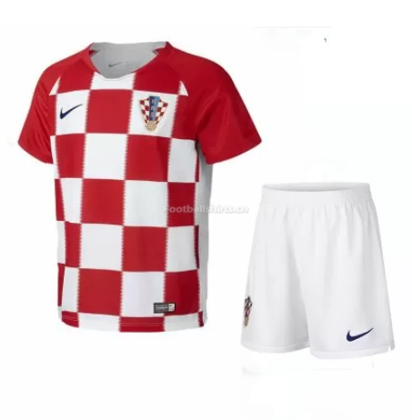 Kids Croatia 2018 World Cup Home Soccer Kit Shirt + Shorts