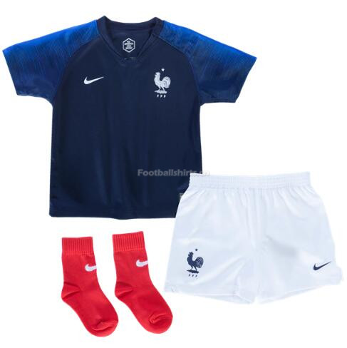 Kids France 2018 World Cup Home Soccer Kit Shirt + Shorts + Sock