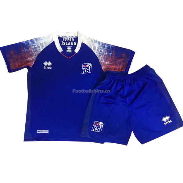 Kids Iceland 2018 World Cup Home Soccer Kit Shirt + Shorts